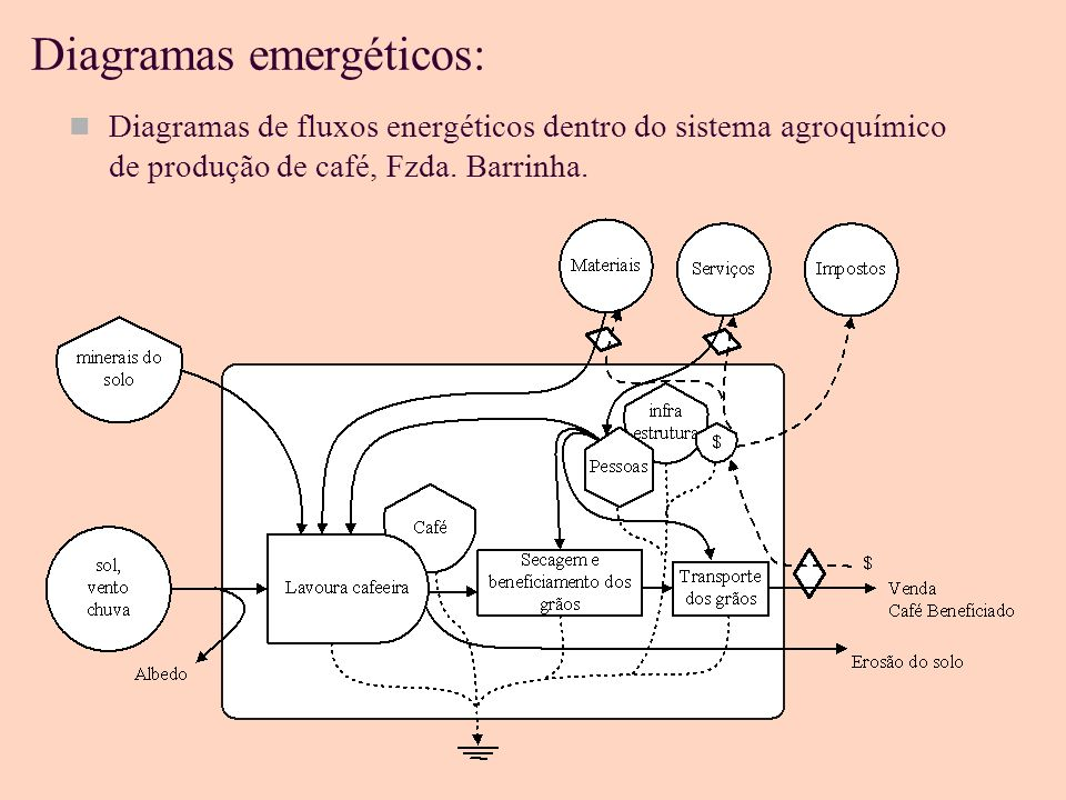 Diagramas emergéticos: Diagramas de fluxos energéticos dentro do sistema agroecológico de produção de café, sítio Terra verde.