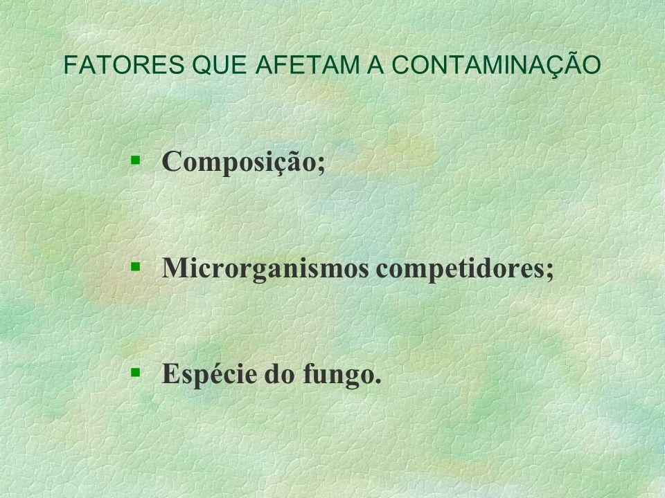 FATORES QUE AFETAM A CONTAMINAÇÃO § Composição; § Microrganismos competidores; § Espécie do fungo.