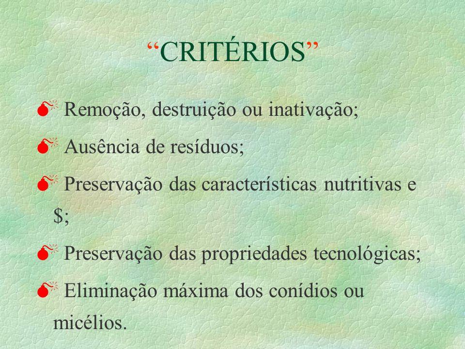 CRITÉRIOS M Remoção, destruição ou inativação; M Ausência de resíduos; M Preservação das características nutritivas e $; M Preservação das propriedade