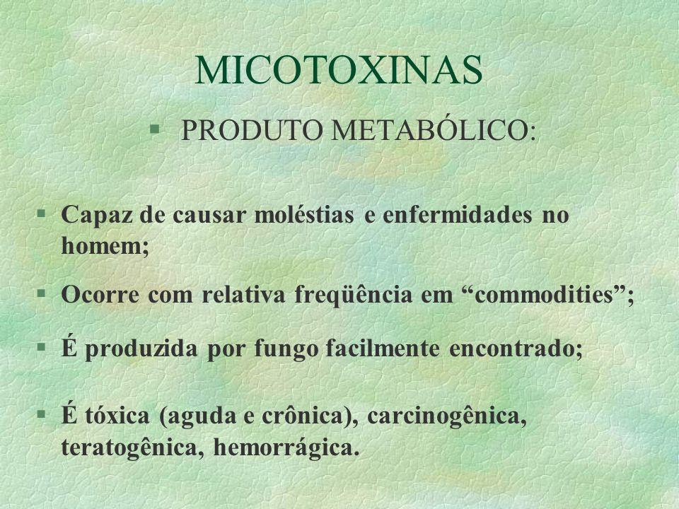 MICOTOXINAS § PRODUTO METABÓLICO: §Capaz de causar moléstias e enfermidades no homem; §Ocorre com relativa freqüência em commodities; §É produzida por
