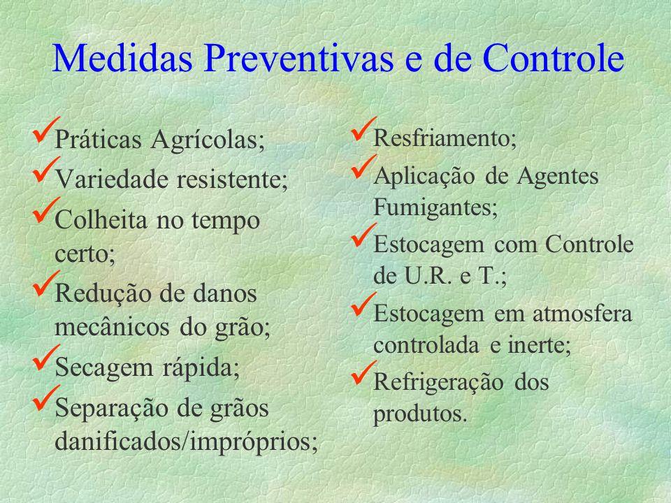 Medidas Preventivas e de Controle Práticas Agrícolas; Variedade resistente; Colheita no tempo certo; Redução de danos mecânicos do grão; Secagem rápid