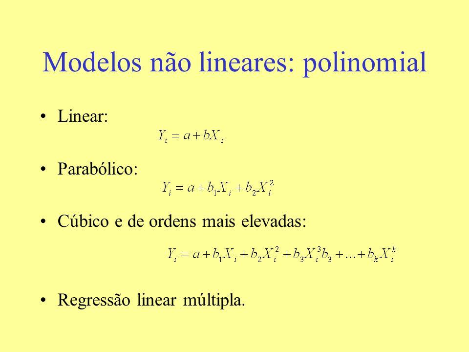 Modelos não lineares: polinomial Linear: Parabólico: Cúbico e de ordens mais elevadas: Regressão linear múltipla.