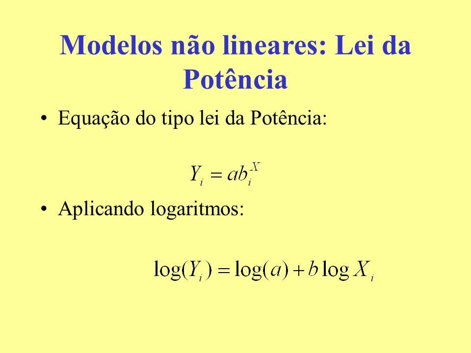 Modelos não lineares: Lei da Potência Equação do tipo lei da Potência: Aplicando logaritmos: