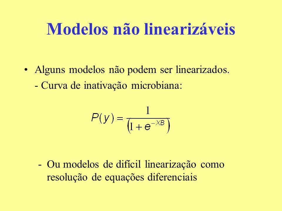 Modelos não linearizáveis Alguns modelos não podem ser linearizados. - Curva de inativação microbiana: -Ou modelos de difícil linearização como resolu