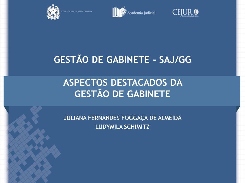GESTÃO DE GABINETE - SAJ/GG ASPECTOS DESTACADOS DA GESTÃO DE GABINETE JULIANA FERNANDES FOGGAÇA DE ALMEIDA LUDYMILA SCHIMITZ