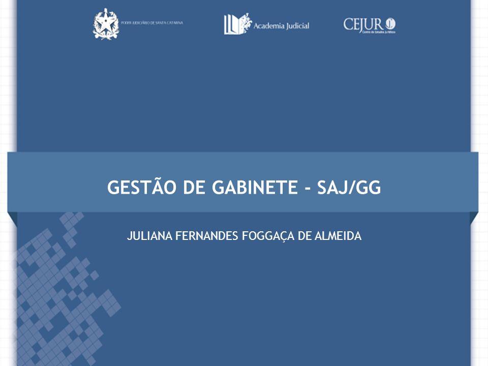 GESTÃO DE GABINETE - SAJ/GG JULIANA FERNANDES FOGGAÇA DE ALMEIDA