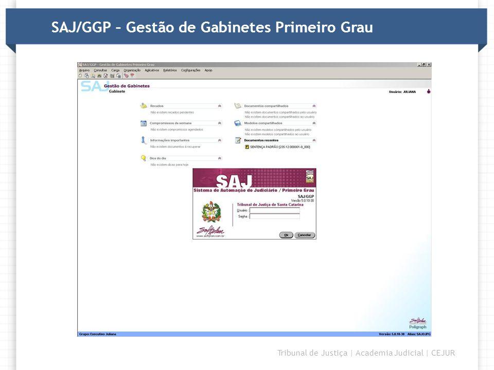 DIRETORIA Tribunal de Justiça | Academia Judicial | CEJUR SAJ/GGP – Gestão de Gabinetes Primeiro Grau
