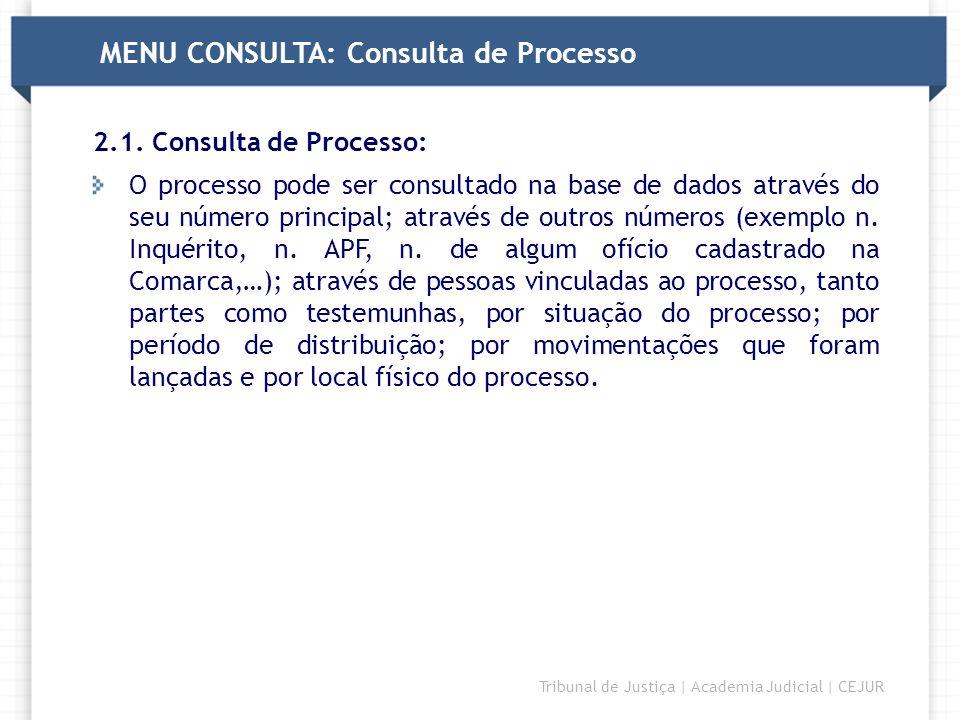 DIRETORIA Tribunal de Justiça | Academia Judicial | CEJUR MENU CONSULTA: Consulta de Processo 2.1. Consulta de Processo: O processo pode ser consultad