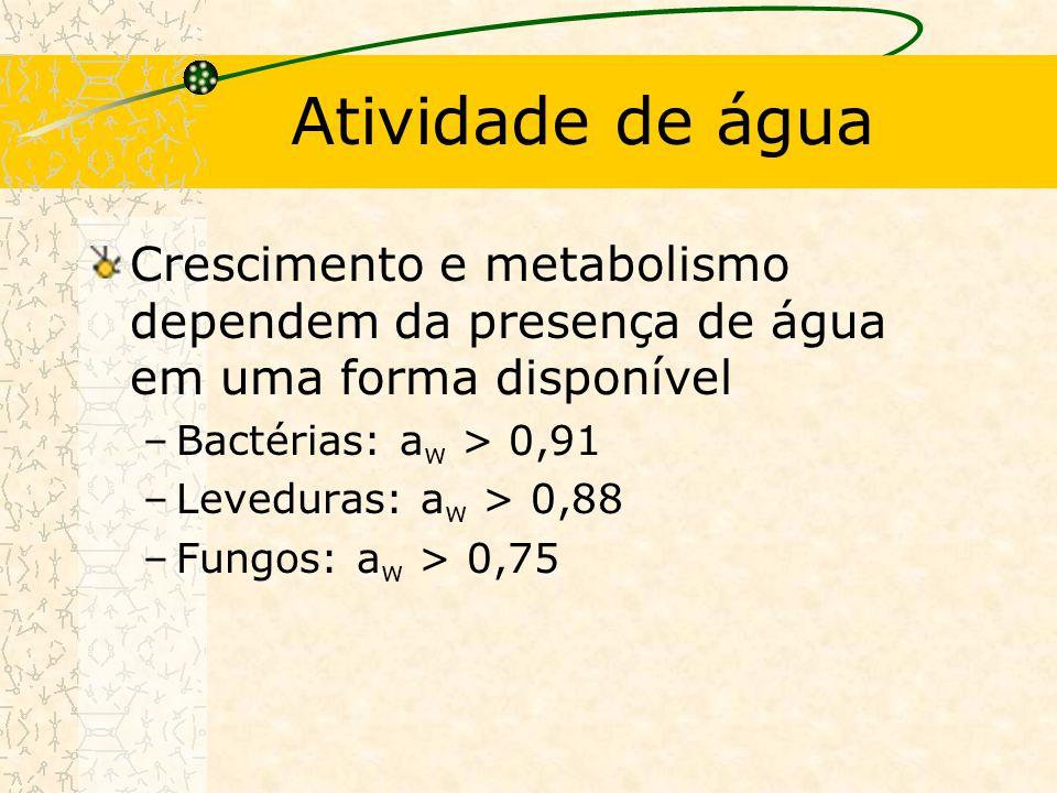 Atividade de água Crescimento e metabolismo dependem da presença de água em uma forma disponível –Bactérias: a w > 0,91 –Leveduras: a w > 0,88 –Fungos: a w > 0,75
