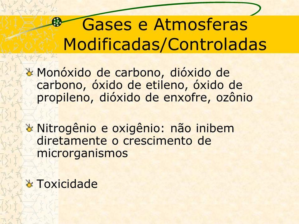 Gases e Atmosferas Modificadas/Controladas Monóxido de carbono, dióxido de carbono, óxido de etileno, óxido de propileno, dióxido de enxofre, ozônio Nitrogênio e oxigênio: não inibem diretamente o crescimento de microrganismos Toxicidade