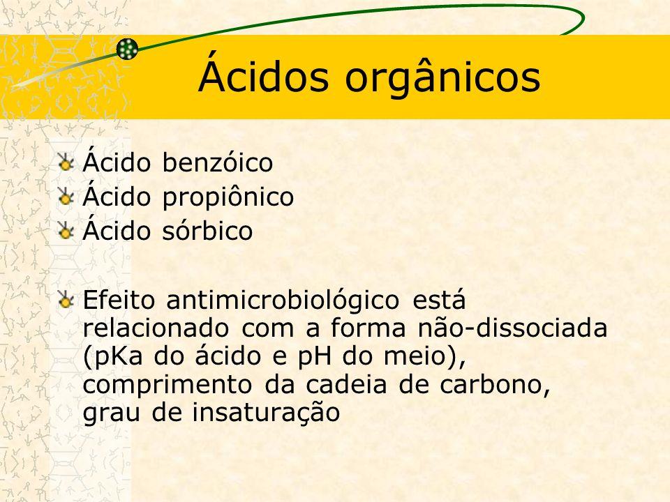 Ácidos orgânicos Ácido benzóico Ácido propiônico Ácido sórbico Efeito antimicrobiológico está relacionado com a forma não-dissociada (pKa do ácido e pH do meio), comprimento da cadeia de carbono, grau de insaturação