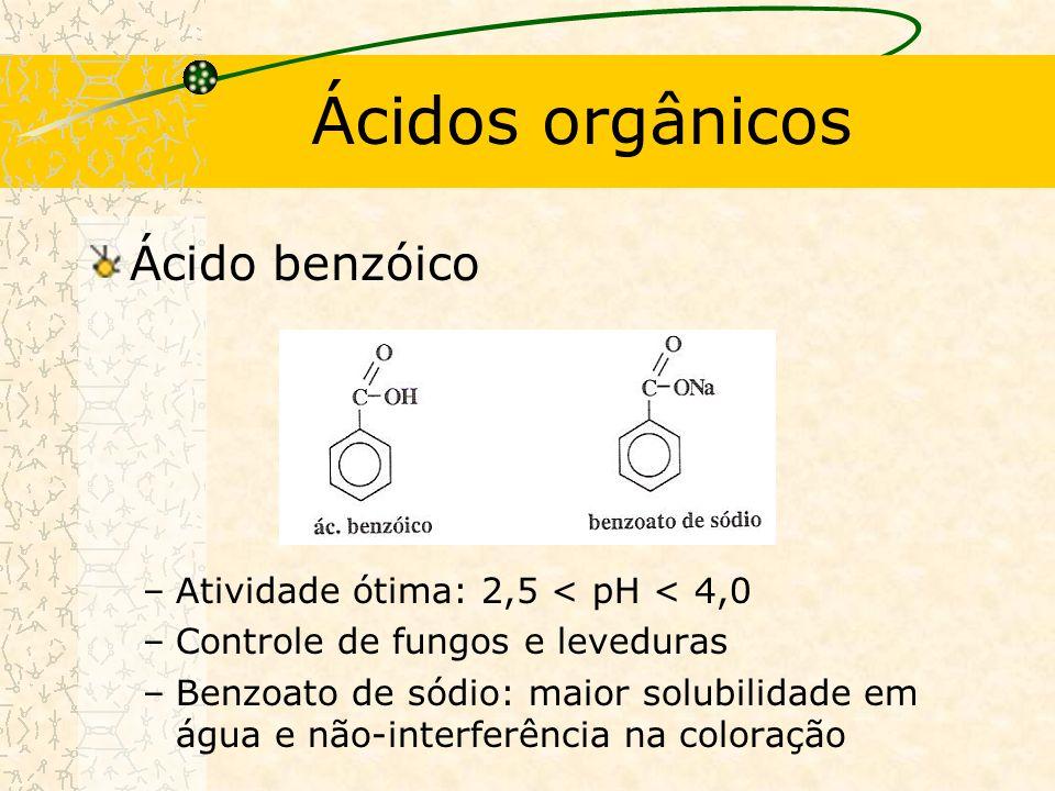 Ácidos orgânicos Ácido benzóico –Atividade ótima: 2,5 < pH < 4,0 –Controle de fungos e leveduras –Benzoato de sódio: maior solubilidade em água e não-interferência na coloração