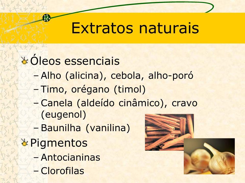 Extratos naturais Óleos essenciais –Alho (alicina), cebola, alho-poró –Timo, orégano (timol) –Canela (aldeído cinâmico), cravo (eugenol) –Baunilha (vanilina) Pigmentos –Antocianinas –Clorofilas