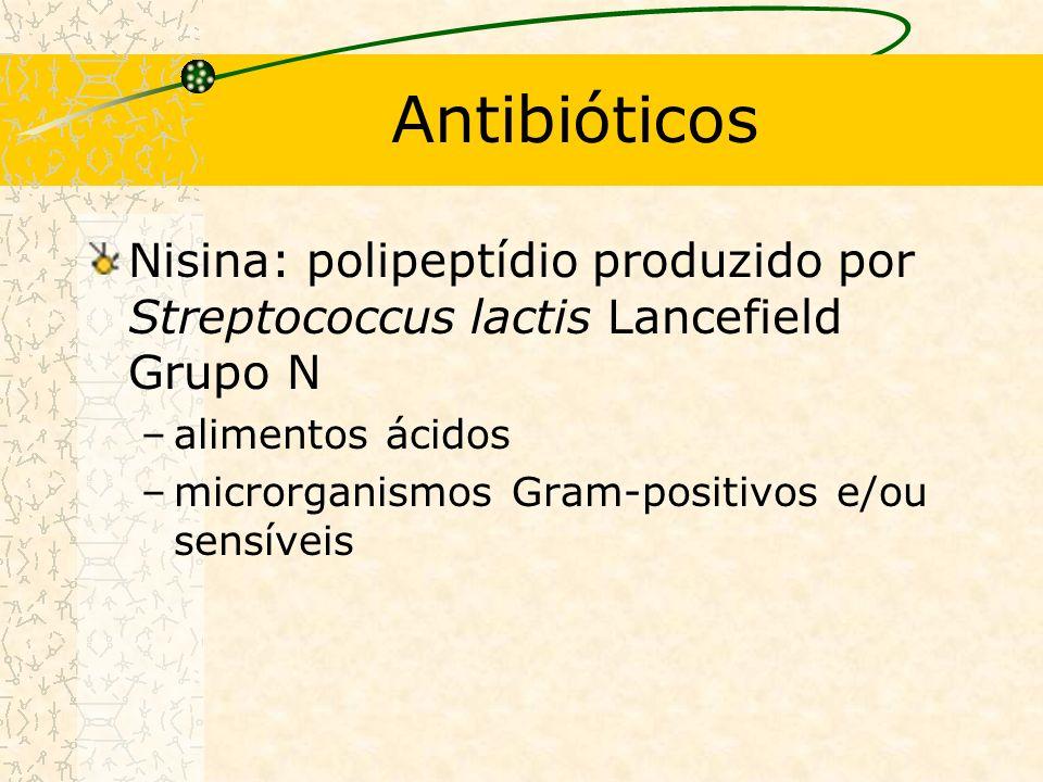 Antibióticos Nisina: polipeptídio produzido por Streptococcus lactis Lancefield Grupo N –alimentos ácidos –microrganismos Gram-positivos e/ou sensíveis