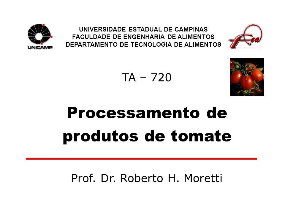 TA – 720 Processamento de produtos de tomate UNIVERSIDADE ESTADUAL DE CAMPINAS FACULDADE DE ENGENHARIA DE ALIMENTOS DEPARTAMENTO DE TECNOLOGIA DE ALIM