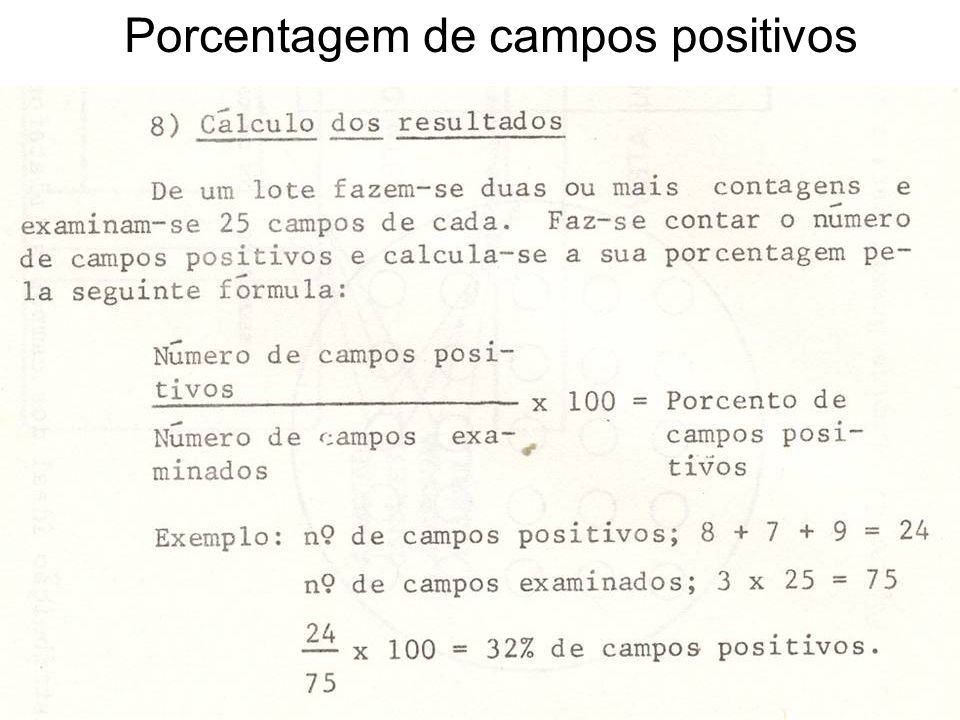 Porcentagem de campos positivos