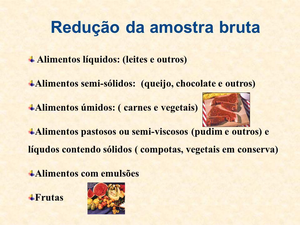Redução da amostra bruta Alimentos líquidos: (leites e outros) Alimentos semi-sólidos: (queijo, chocolate e outros) Alimentos úmidos: ( carnes e veget