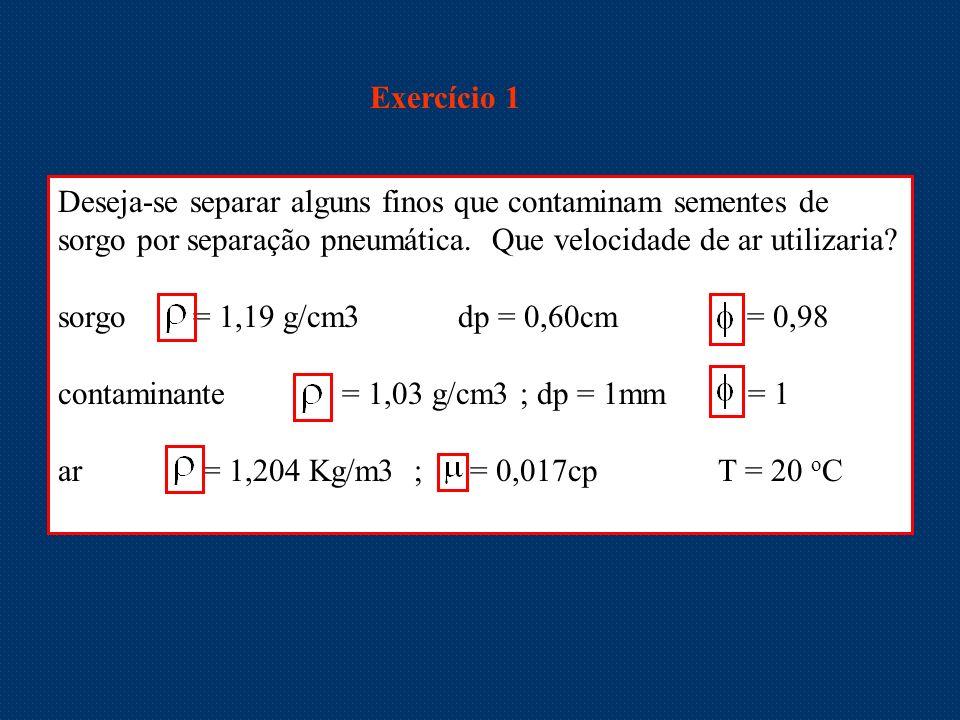 Exercício 1 Deseja-se separar alguns finos que contaminam sementes de sorgo por separação pneumática. Que velocidade de ar utilizaria? sorgo = 1,19 g/