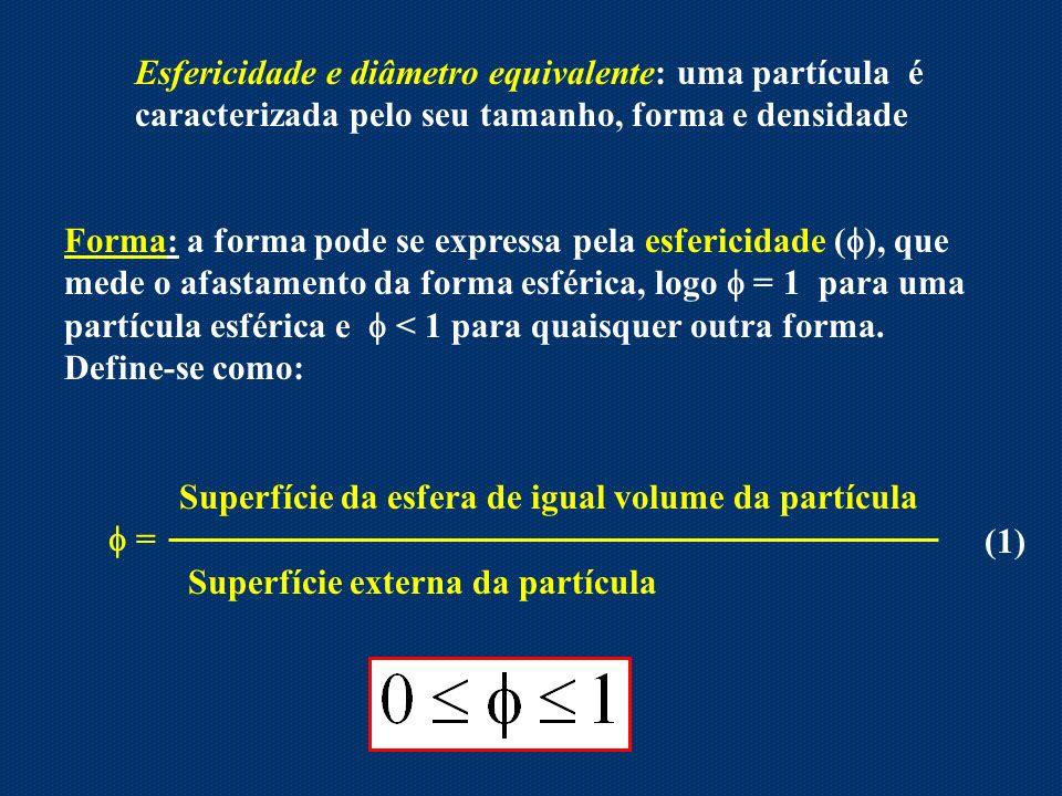 Esfericidade e diâmetro equivalente: uma partícula é caracterizada pelo seu tamanho, forma e densidade Forma: a forma pode se expressa pela esfericida