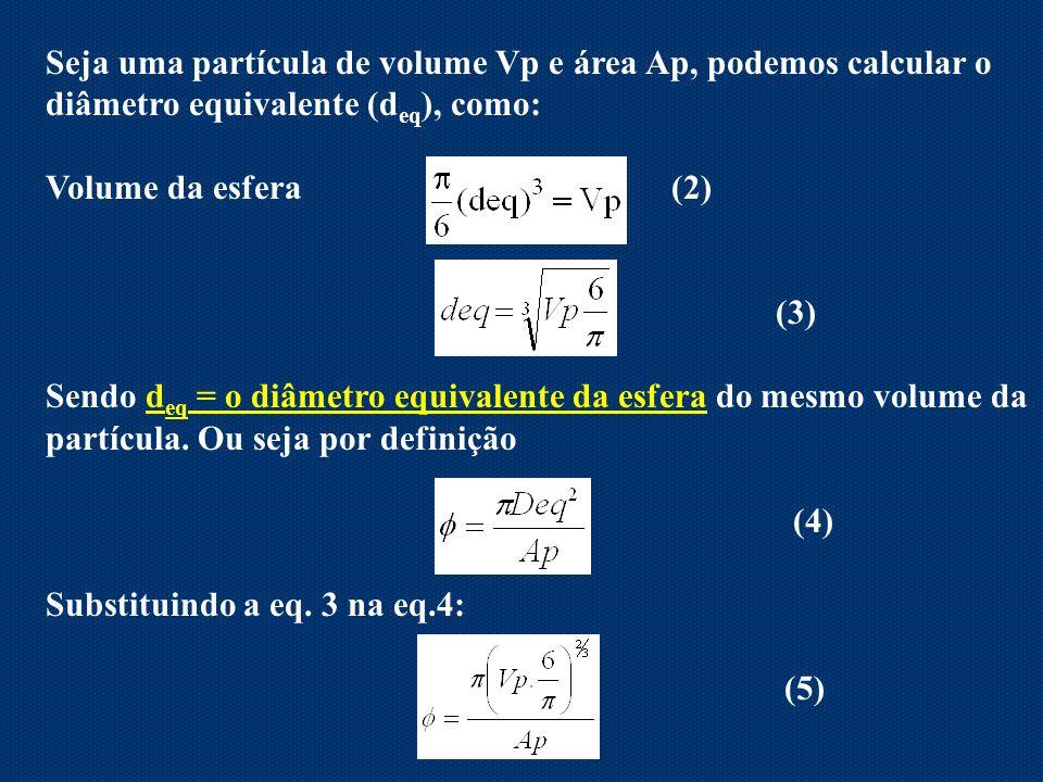 Seja uma partícula de volume Vp e área Ap, podemos calcular o diâmetro equivalente (d eq ), como: Volume da esfera (2) (3) Sendo d eq = o diâmetro equ