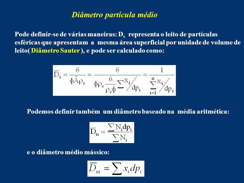Diâmetro partícula médio Pode definir-se de várias maneiras: D s representa o leito de partículas esféricas que apresentam a mesma área superficial po