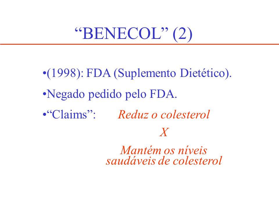 BENECOL (2) (1998): FDA (Suplemento Dietético). Negado pedido pelo FDA. Claims: Reduz o colesterol X Mantém os níveis saudáveis de colesterol