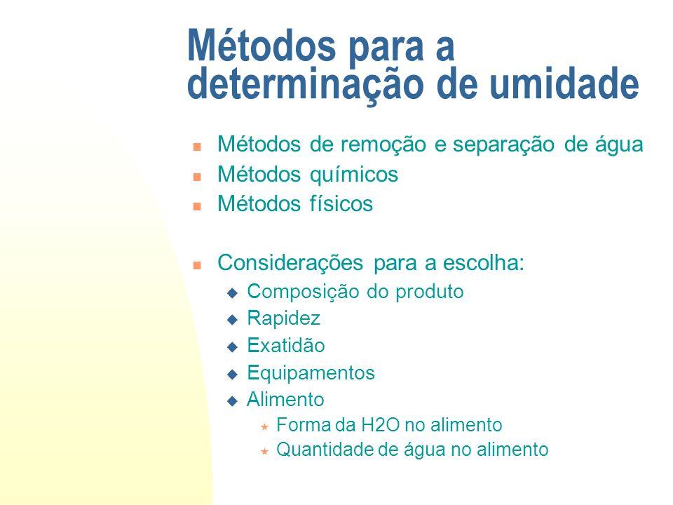 Métodos para a determinação de umidade Métodos de remoção e separação de água Métodos químicos Métodos físicos Considerações para a escolha: Composiçã