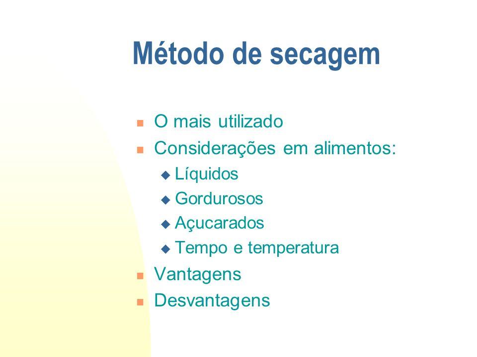 Método de secagem O mais utilizado Considerações em alimentos: Líquidos Gordurosos Açucarados Tempo e temperatura Vantagens Desvantagens