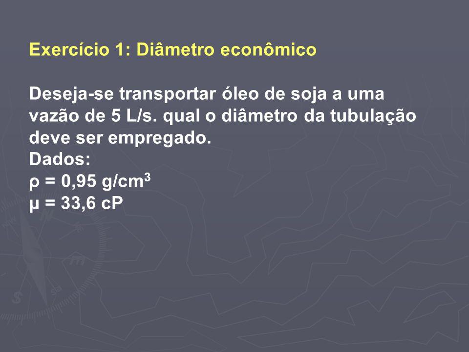 Exercício 1: Diâmetro econômico Deseja-se transportar óleo de soja a uma vazão de 5 L/s. qual o diâmetro da tubulação deve ser empregado. Dados: ρ = 0