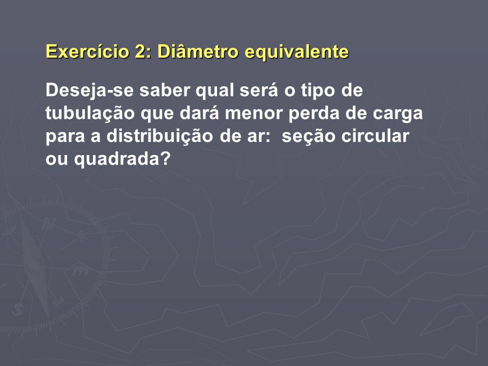 Exercício 2: Diâmetro equivalente Deseja-se saber qual será o tipo de tubulação que dará menor perda de carga para a distribuição de ar: seção circula