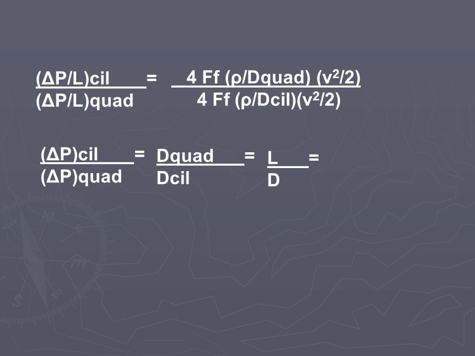 (ΔP/L)cil = (ΔP/L)quad 4 Ff (ρ/Dquad) (v 2 /2) 4 Ff (ρ/Dcil)(v 2 /2) (ΔP)cil = (ΔP)quad Dquad = Dcil L = D