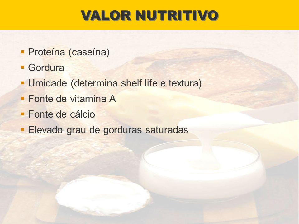 VALOR NUTRITIVO Proteína (caseína) Gordura Umidade (determina shelf life e textura) Fonte de vitamina A Fonte de cálcio Elevado grau de gorduras satur