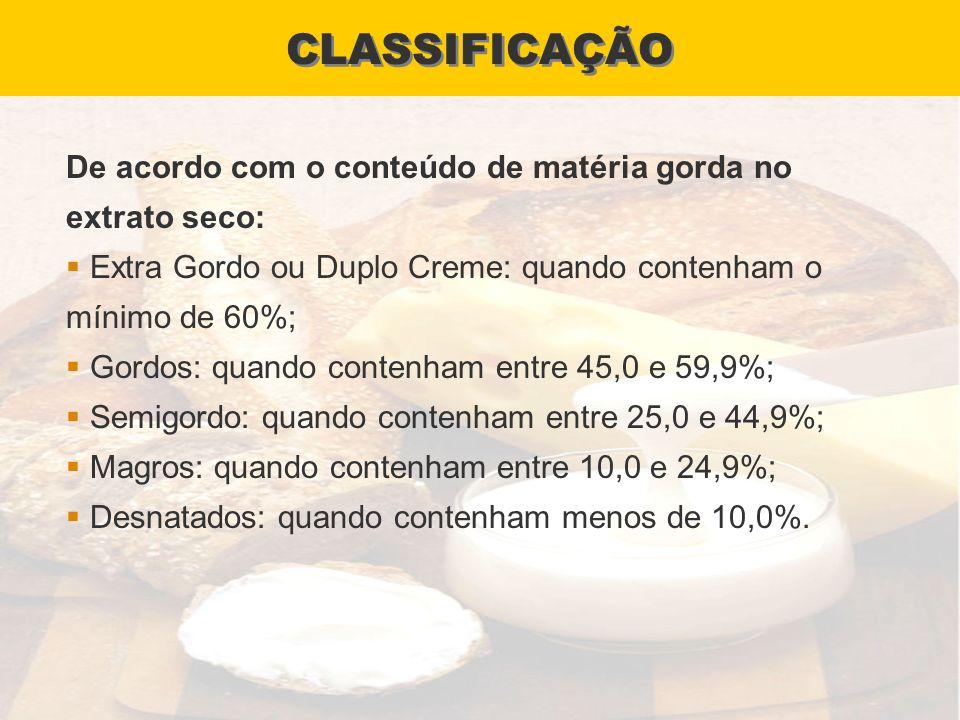 CLASSIFICAÇÃO De acordo com o conteúdo de matéria gorda no extrato seco: Extra Gordo ou Duplo Creme: quando contenham o mínimo de 60%; Gordos: quando