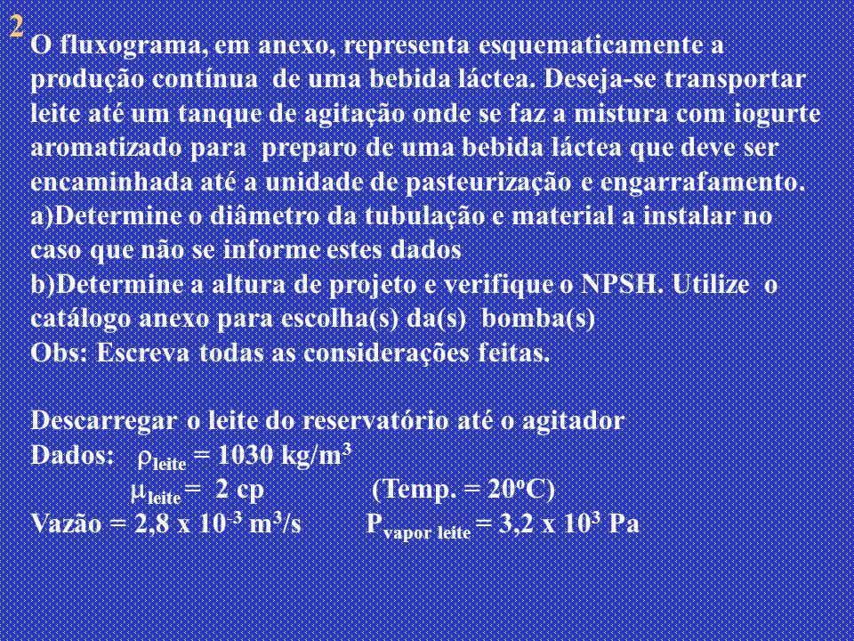Descarregar a bebida láctea do tanque de agitação até a saída do pasteurizador: Dados: Características reológicas da bebida láctea: n = 0,42 e k = 9,28 Pa.s n; Vazão mássica=1,5kg/s P vapor bebida láctea = 2,8 x 10 3 Pa, N tub = 2 40 S – material: aço inox 304 (tubo liso) ; int = 48 mm; beb.