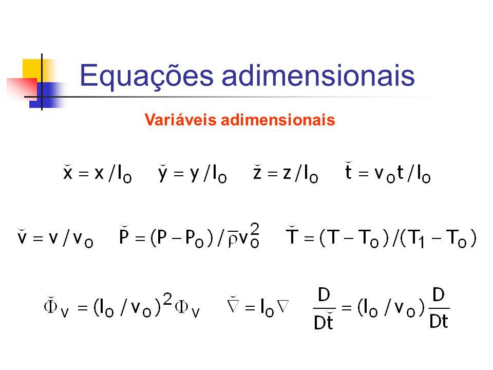 Equações adimensionais Variáveis adimensionais