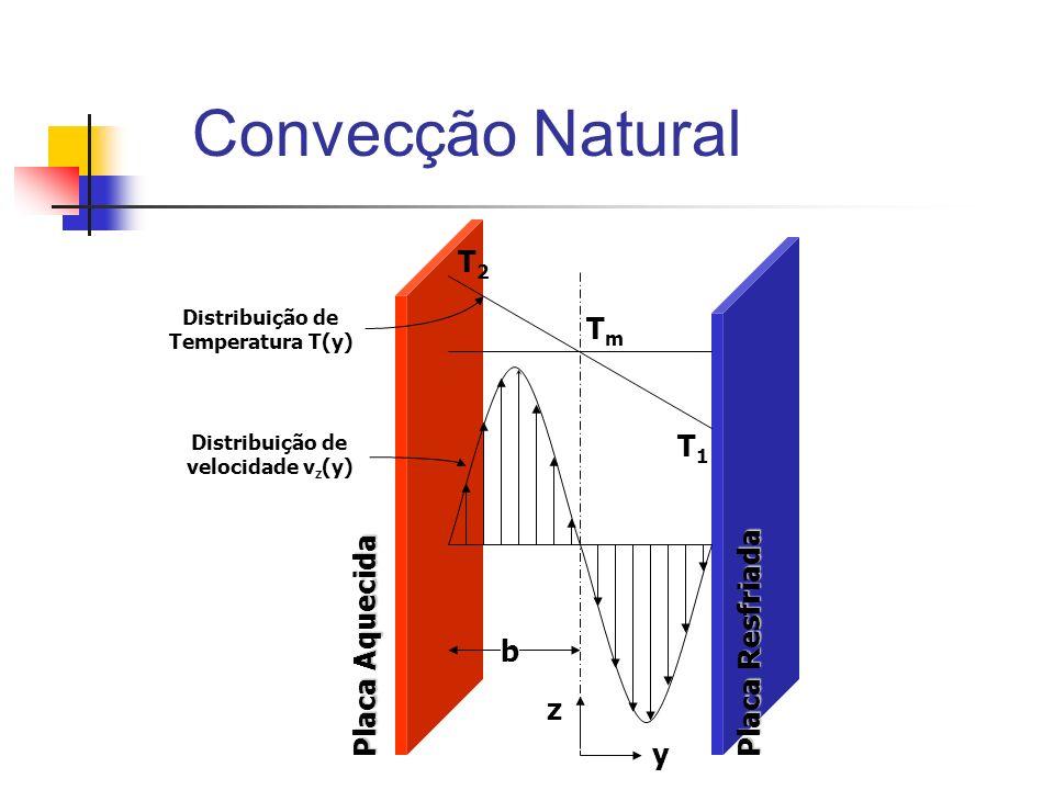 Convecção Natural Placa Resfriada Placa Aquecida Distribuição de velocidade v z (y) z y T2T2 T1T1 TmTm Distribuição de Temperatura T(y) b