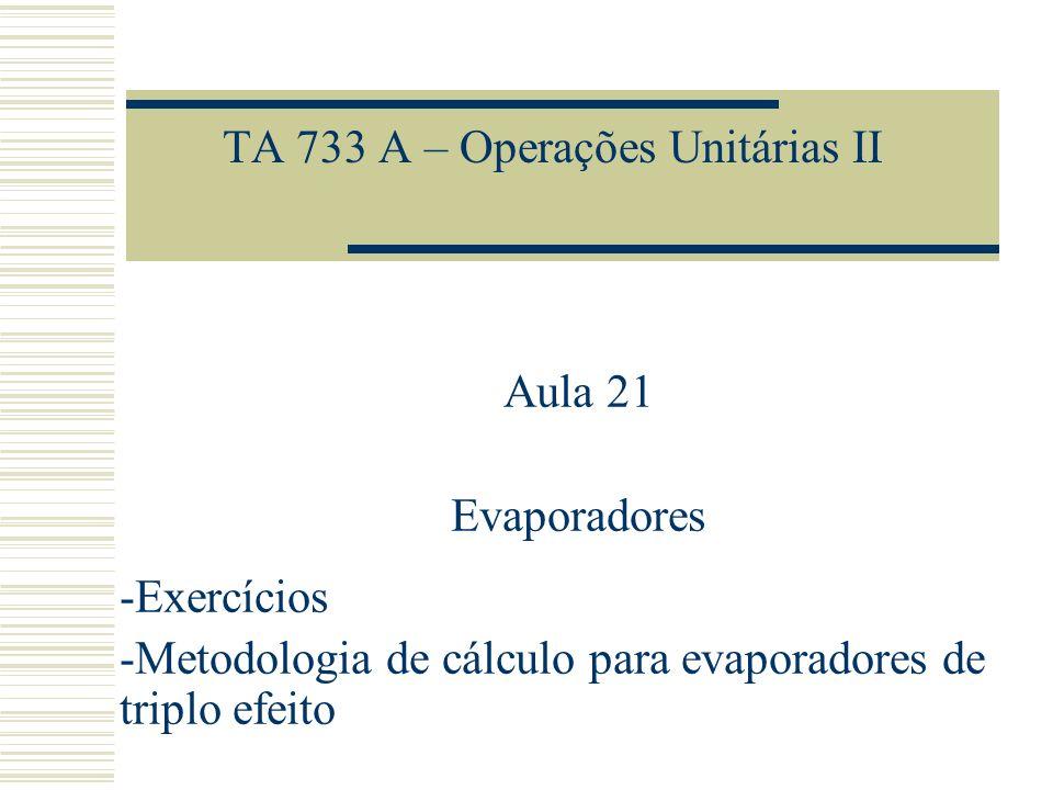 TA 733 A – Operações Unitárias II Aula 21 Evaporadores -Exercícios -Metodologia de cálculo para evaporadores de triplo efeito