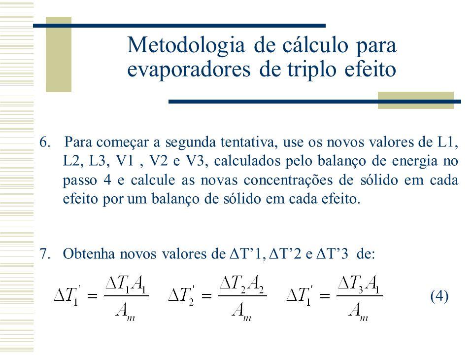 Metodologia de cálculo para evaporadores de triplo efeito 6.