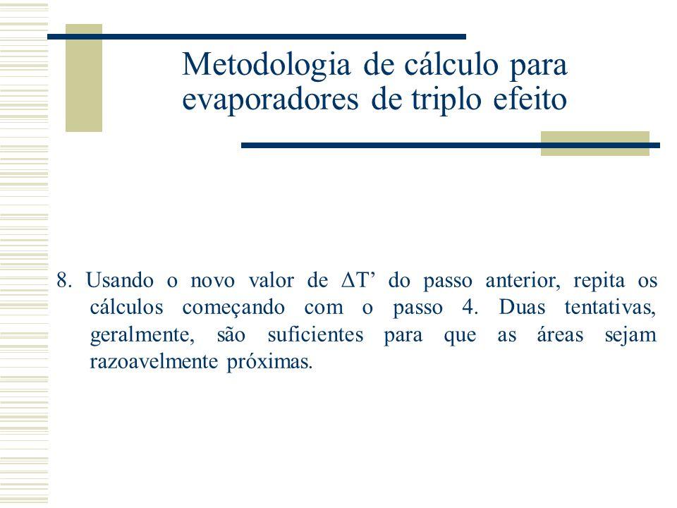 Metodologia de cálculo para evaporadores de triplo efeito 8.