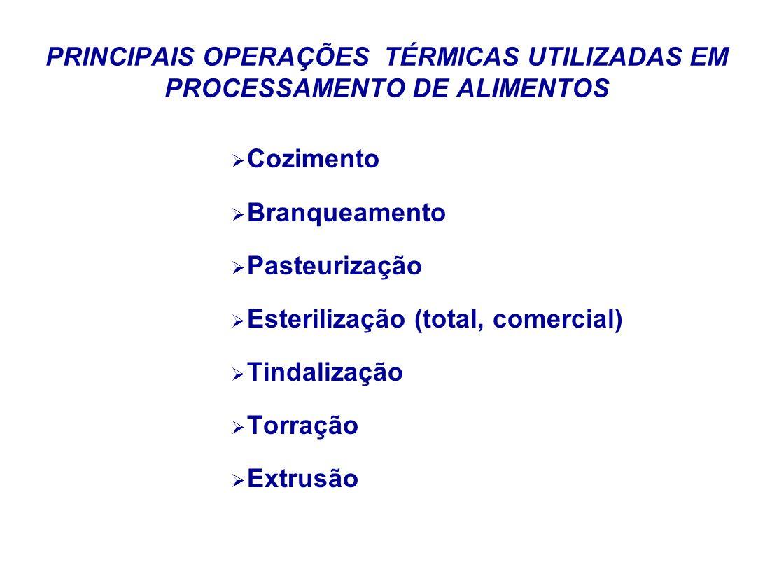 PRINCIPAIS OPERAÇÕES TÉRMICAS UTILIZADAS EM PROCESSAMENTO DE ALIMENTOS Cozimento Branqueamento Pasteurização Esterilização (total, comercial) Tindaliz