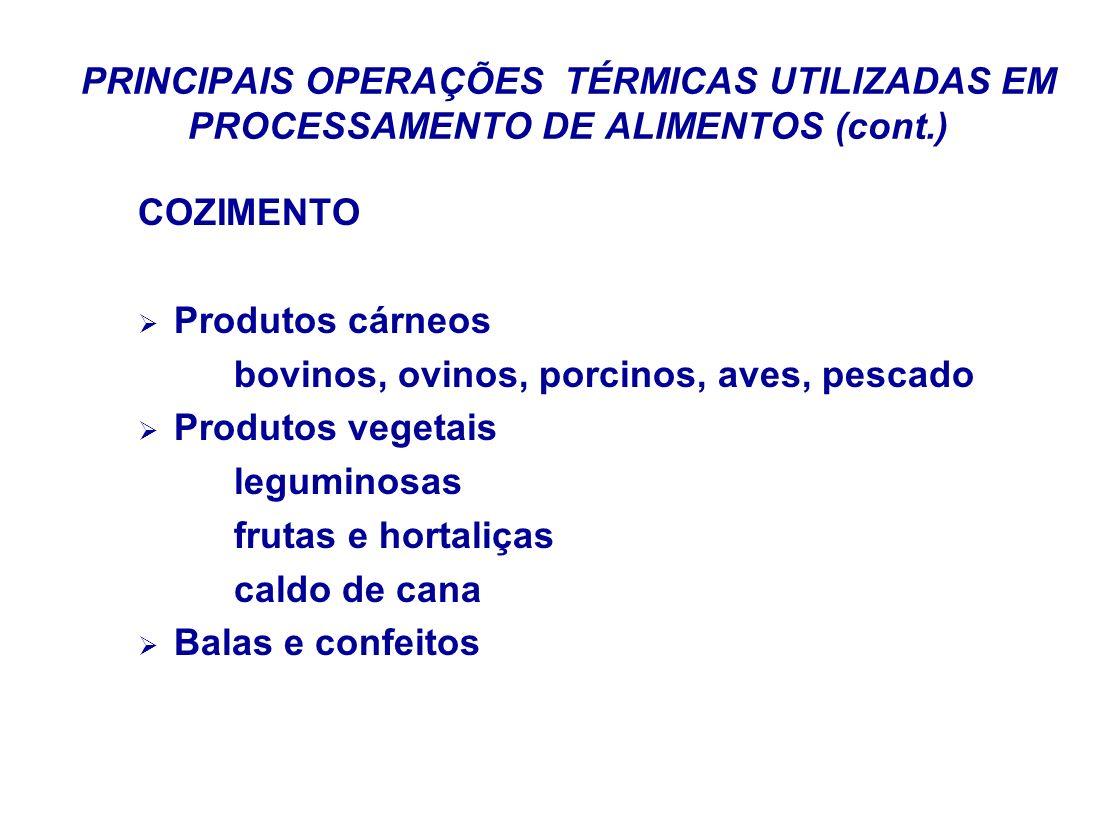 PRINCIPAIS OPERAÇÕES TÉRMICAS UTILIZADAS EM PROCESSAMENTO DE ALIMENTOS (cont.) COZIMENTO Produtos cárneos bovinos, ovinos, porcinos, aves, pescado Pro