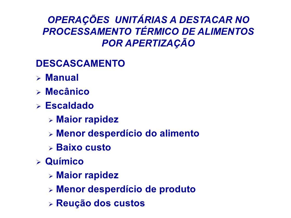 OPERAÇÕES UNITÁRIAS A DESTACAR NO PROCESSAMENTO TÉRMICO DE ALIMENTOS POR APERTIZAÇÃO DESCASCAMENTO Manual Mecânico Escaldado Maior rapidez Menor despe