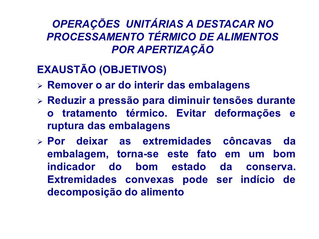 OPERAÇÕES UNITÁRIAS A DESTACAR NO PROCESSAMENTO TÉRMICO DE ALIMENTOS POR APERTIZAÇÃO EXAUSTÃO (OBJETIVOS) Remover o ar do interir das embalagens Reduz