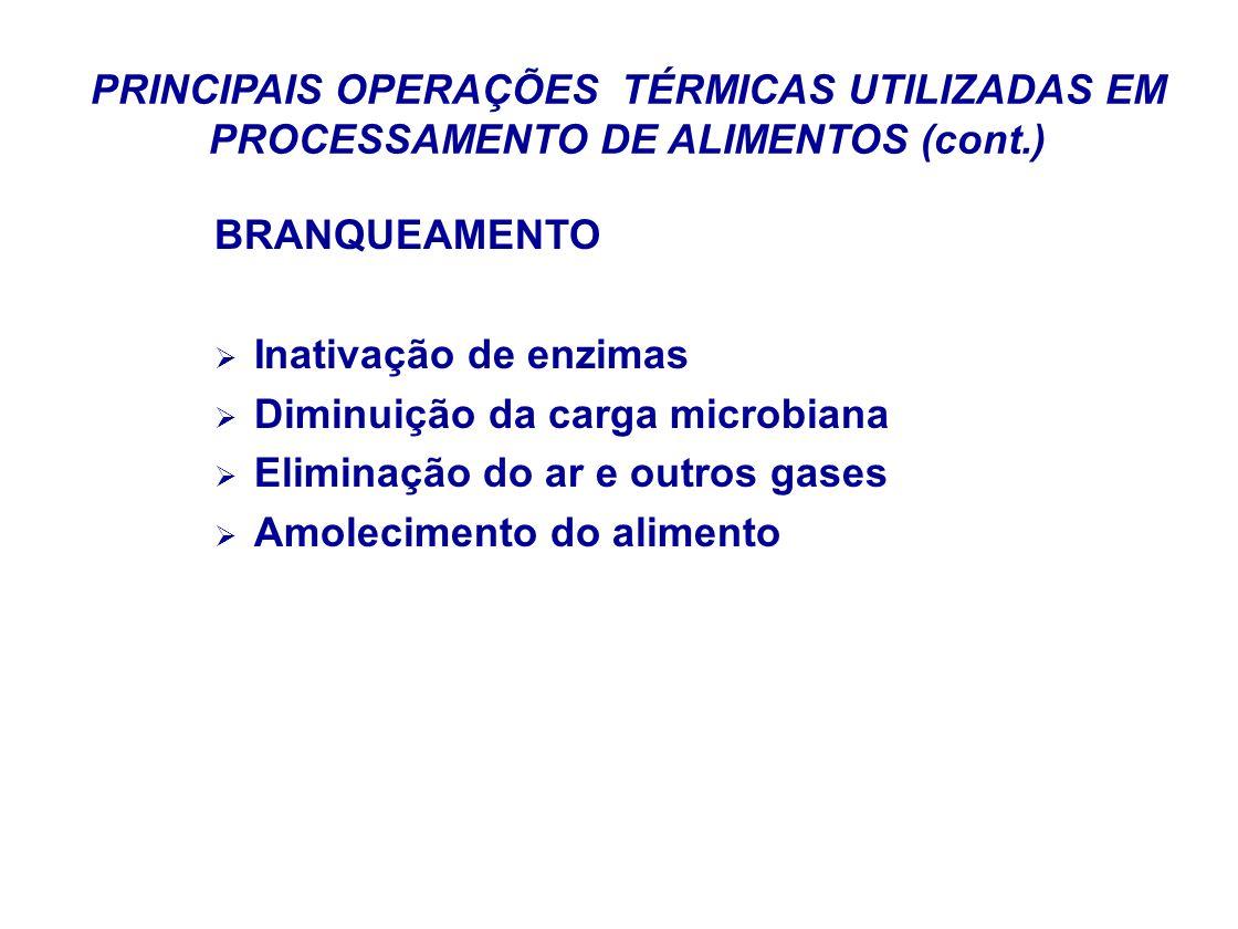 PRINCIPAIS OPERAÇÕES TÉRMICAS UTILIZADAS EM PROCESSAMENTO DE ALIMENTOS (cont.) BRANQUEAMENTO Inativação de enzimas Diminuição da carga microbiana Elim