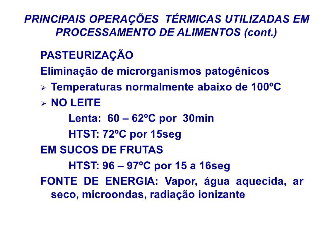 PRINCIPAIS OPERAÇÕES TÉRMICAS UTILIZADAS EM PROCESSAMENTO DE ALIMENTOS (cont.) PASTEURIZAÇÃO Eliminação de microrganismos patogênicos Temperaturas nor