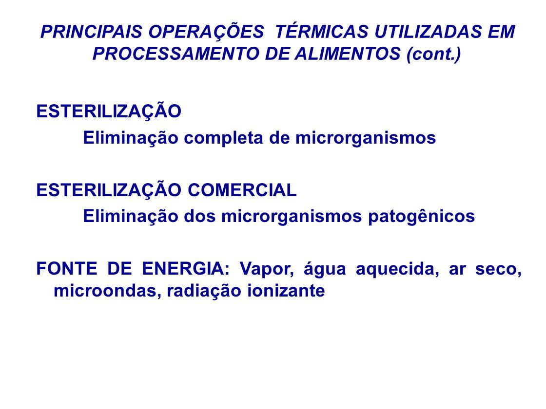 PRINCIPAIS OPERAÇÕES TÉRMICAS UTILIZADAS EM PROCESSAMENTO DE ALIMENTOS (cont.) ESTERILIZAÇÃO Eliminação completa de microrganismos ESTERILIZAÇÃO COMER