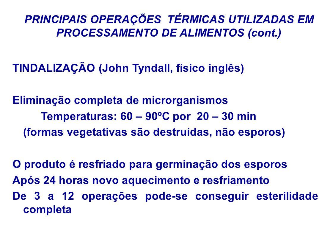 PRINCIPAIS OPERAÇÕES TÉRMICAS UTILIZADAS EM PROCESSAMENTO DE ALIMENTOS (cont.) TINDALIZAÇÃO (John Tyndall, físico inglês) Eliminação completa de micro