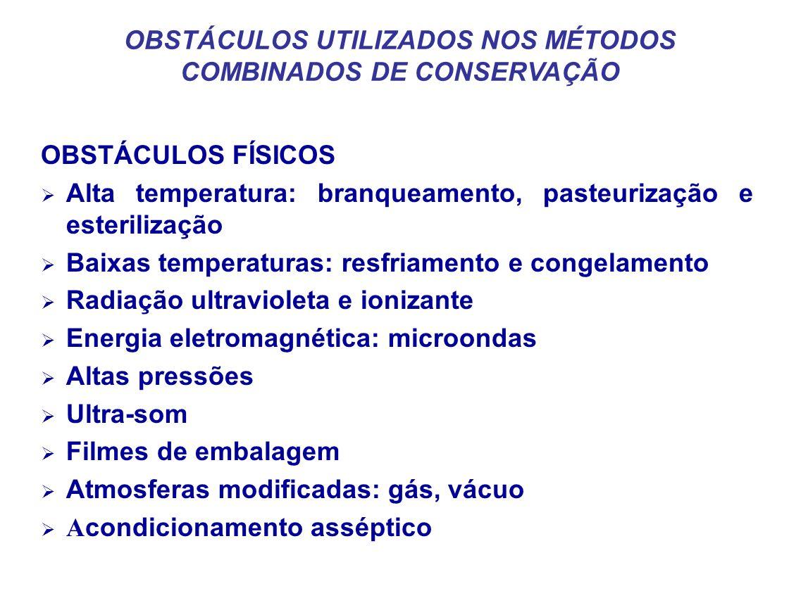 OBSTÁCULOS UTILIZADOS NOS MÉTODOS COMBINADOS DE CONSERVAÇÃO OBSTÁCULOS FÍSICOS Alta temperatura: branqueamento, pasteurização e esterilização Baixas t