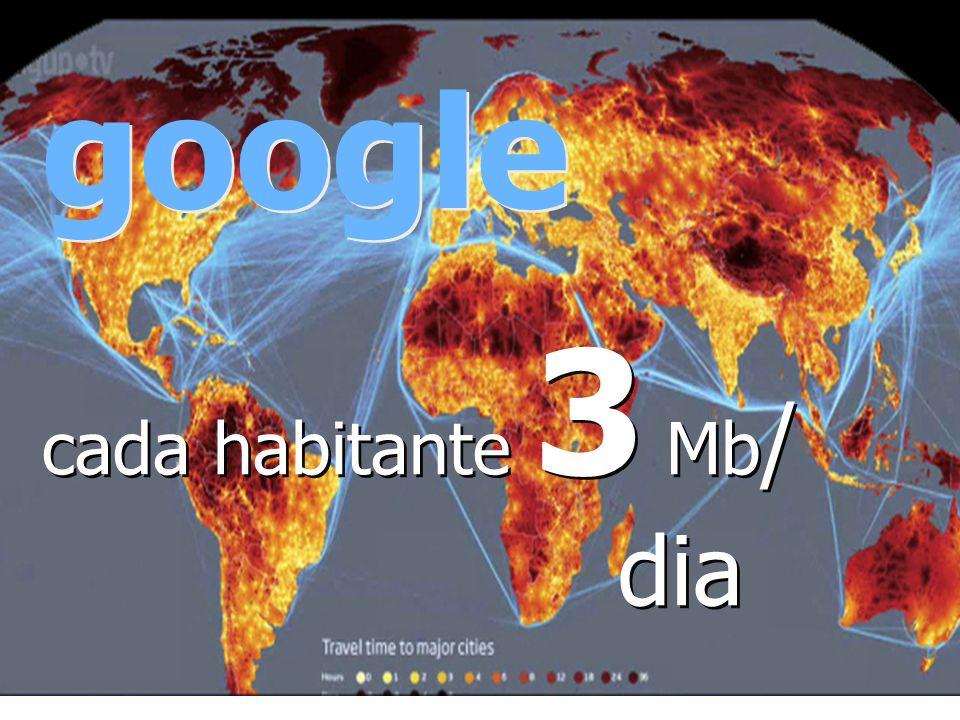 cada habitante 3 Mb / dia google