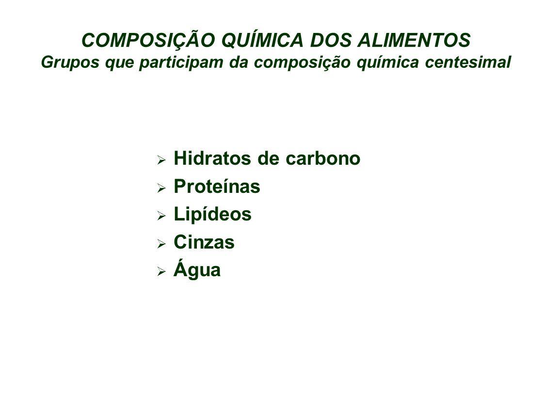 COMPOSIÇÃO QUÍMICA DOS ALIMENTOS Grupos que participam da composição química centesimal Hidratos de carbono Proteínas Lipídeos Cinzas Água
